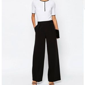 NWOT ASOS Wide Leg Black Pants with Pleat Detail